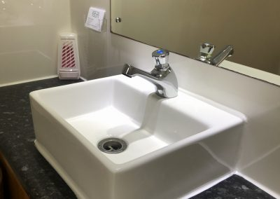 Sink and worktop inside 1+1 luxury toilet unit