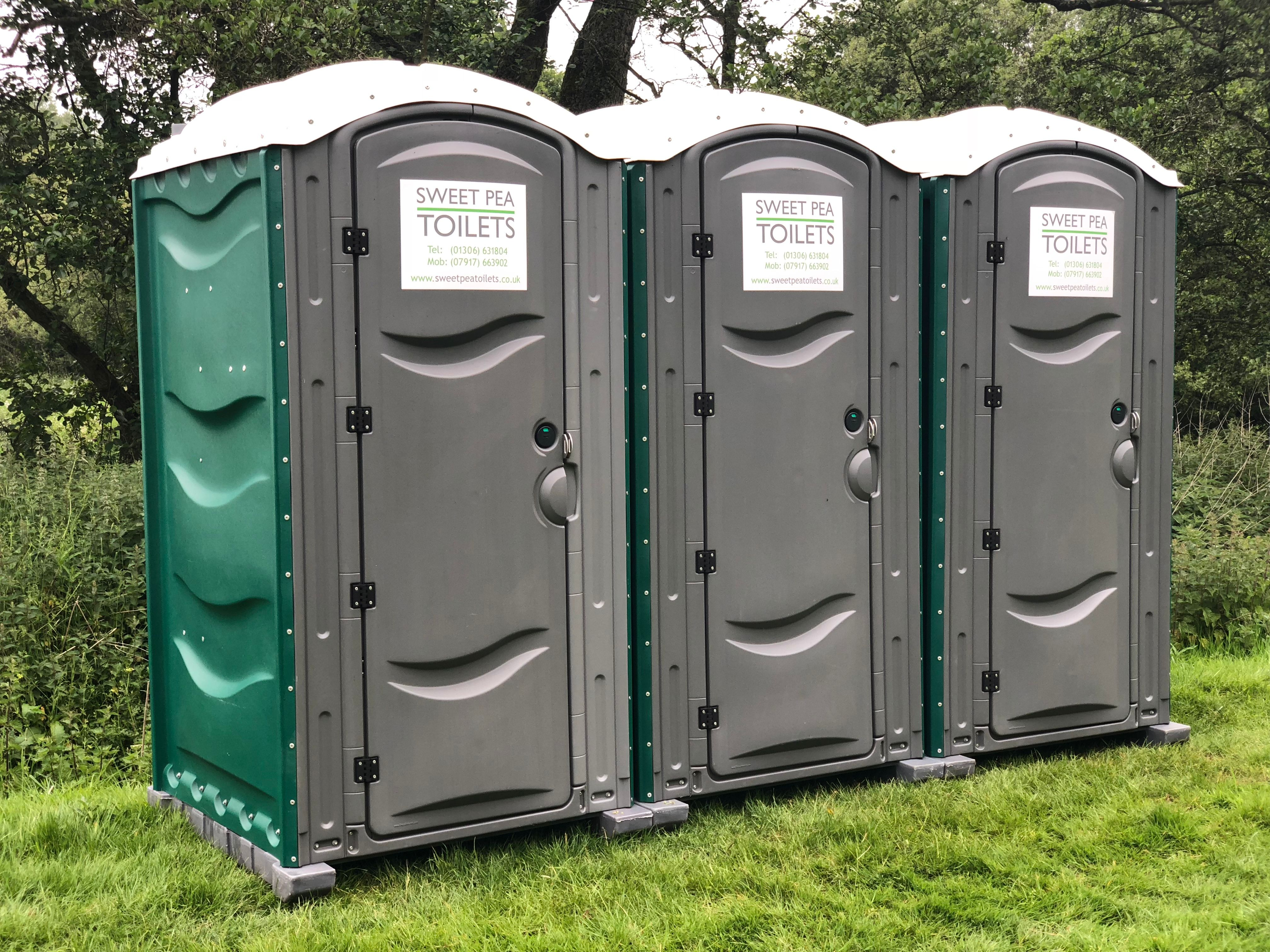 Three Portable Sweet Pea Toilets for hire